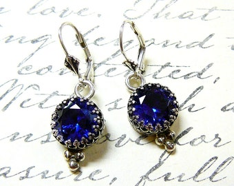 "Sterling silver ""Something Blue"" Sapphire Earrings"