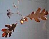 Handmade Copper Oak Mobile Oak Leaves