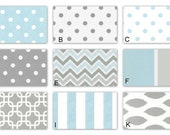 Light Blue and Gray Custom Crib Baby Bedding for your Baby Boy
