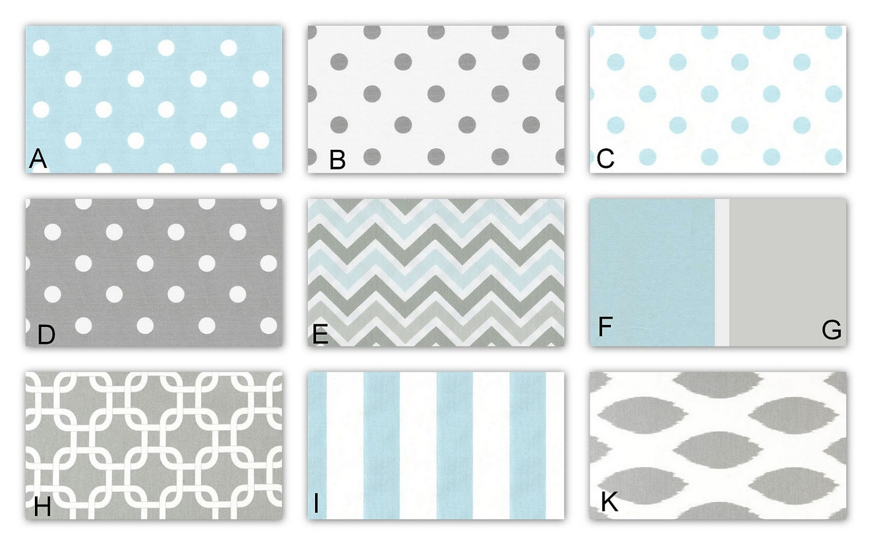 Light blue and gray custom crib baby bedding for by - Light blue and gray bedding ...
