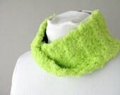 Neon Lime Green Ear Warmers for Women - Infinity Loop Scarf for Teens Tweens Girls - Crochet Fleece Ear Muffs