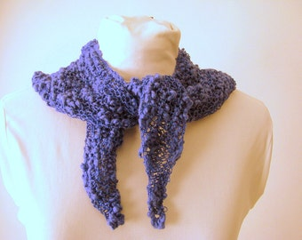 Handknit Cotton Summer Lace Purple Triangle Fashion Scarf for an Adult Female
