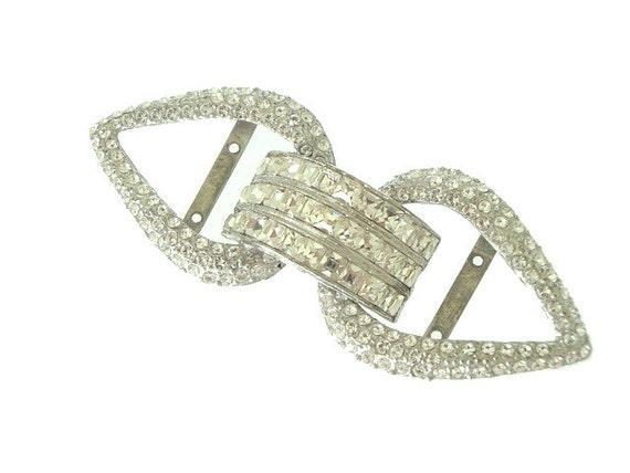 Art Deco Belt Buckle Wide Vintage Square Rhinestone Design 1920s Wedding Jewelry