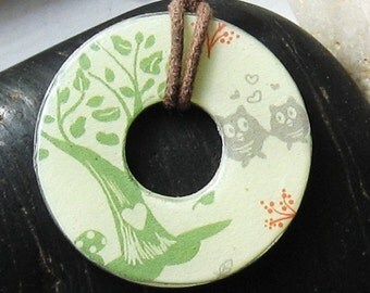 Lovely Tree and Owl Storybook Upcycled Papers Hardware Washer Pendant Necklace