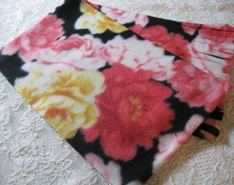 Five Buck Fleece Scarf Blow Out Special!  Only at SylMarCreations!  Cabbage Roses Winter Fleece Scarf