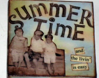 Small Canvas Altered Art Beeswax Covered Collage - Beach, Summer-  Summertime