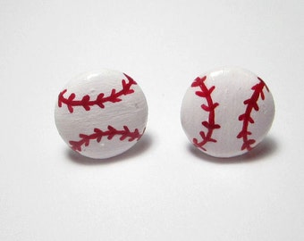 Baseball Polymer Clay Stud Earrings- Surgical Steel