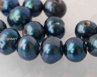Sale 30% OFF Large Hole Pearl Round Pearl Freshwater Pearl peacock blue 9mm ---10 pieces set 2mm hole