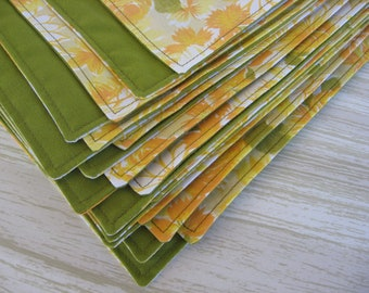 Cloth Napkins Vintage Green & Yellow Set of 10 Gift Under 75
