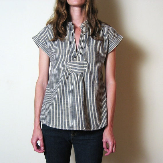BLUE & WHITE STRIPED pintucked blouse, xs - s