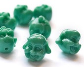 Laughing Buddha Beads -  green turquoise - acrylic 8pcs small