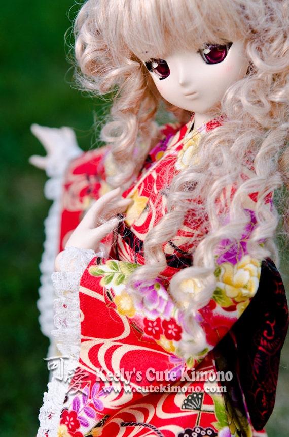 Pink Peony on Red Wa-Loli Kimono for DD and SD