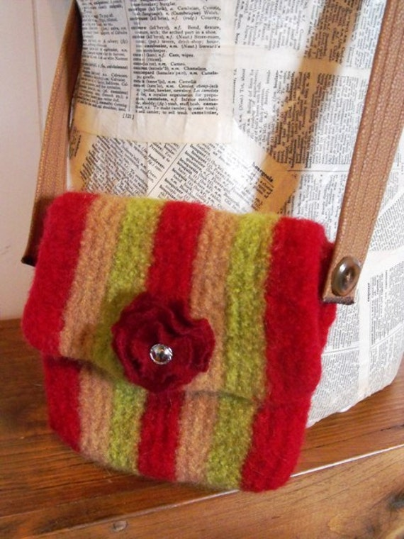 Hand Knit Wool Felted Purse for Women and Girls