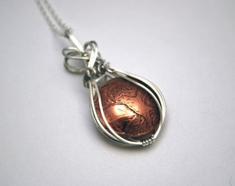 Sterling silver and copper wrapped crow pendant - wire wrapped