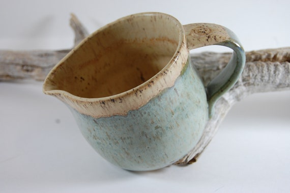 Pottery Pitcher Smoky Mountain Mist Glaze Ceramic Handmade Serving Creamer