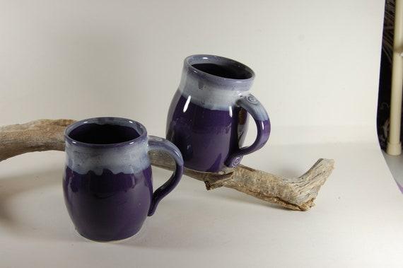 Pottery Mug Purple Grape With White Glaze 101 , Serving, Handmade