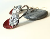 Red Enameled Concho Earrings with Sterling Silver  Ready to Ship