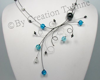 blue necklace, bridesmaids necklace, delicate swirls necklace, christmas gift idea, evening necklace, funky jewelry, gift for her
