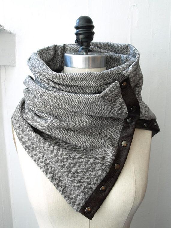 Scarf in Gray  herringbone Chunky wool circular infinity scarf   last one