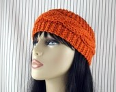 Hand Knit Ear Warmer Headband Wool in Pumpkin