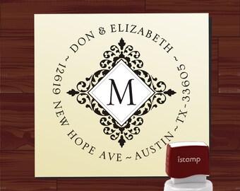 Custom Address Stamp Self Inking - Return Address Rubber Stamp - Monogram Round Address Stamp (MS5386)