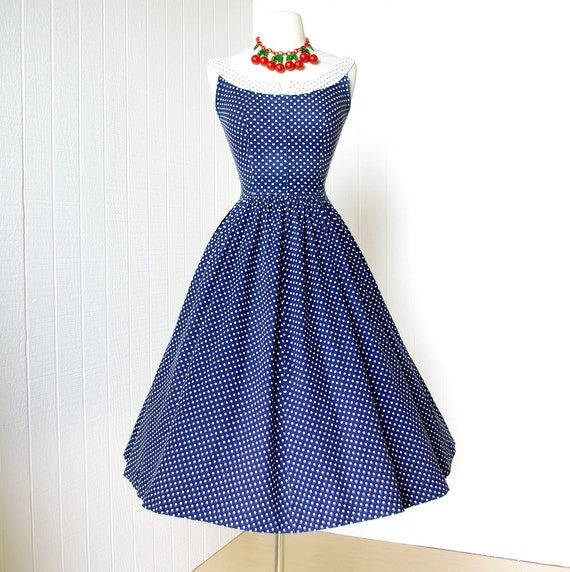 vintage 1950's dress ...delightful POLKADOT PINWHEEL PIQUE blue and white cotton nautical novelty full skirt pin-up summer sun dress