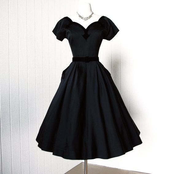 vintage 1950's dress ...decadent classic MATTE BLACK SATIN and velvet appliques full skirt pin-up cocktail party dress