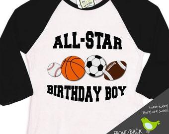 sports birthday boy shirt - soccer baseball football basketball sports theme raglan sleeve birthday shirt