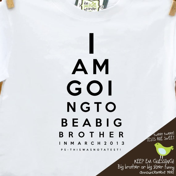 big brother shirt (or big brother again shirt) - funny eye chart pregnancy announcement t- shirt