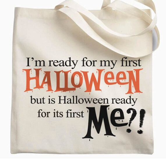 funny trick or treat bag for baby's first halloween