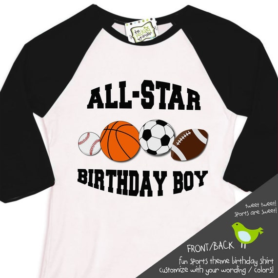 Sports Birthday Boy Shirt Soccer Baseball Football By