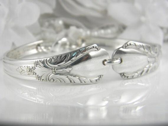 Spoon Bracelet, Silverware Bracelet, Spoon Jewelry, Vintage Silverware Jewelry, Vintage Wedding - AVALON 1940