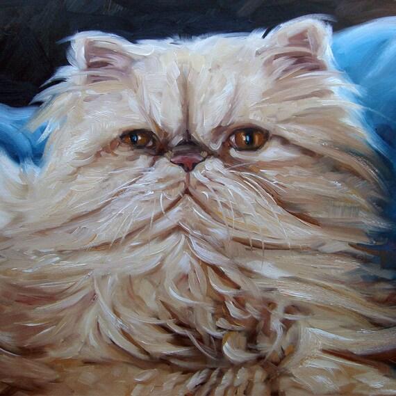 """Persian Cat, custom Pet Portrait Oil Paintings, 10x10"""""""