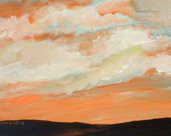 sunset painting, Sunset acrylic painting on paper