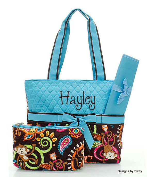 Monkey Pattern Quilted Personalized Diaper Bag