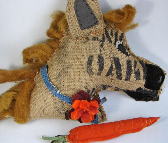 Reserved for Jenn Horse Pillow, Burlap Coffee Bag, with carrot and flower