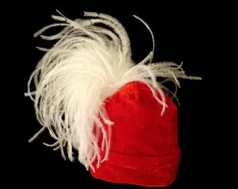 """Infant Beanie Hat, Newborn Photo Prop, Stretch Velvet, Red - """"SANTA BABY"""""""