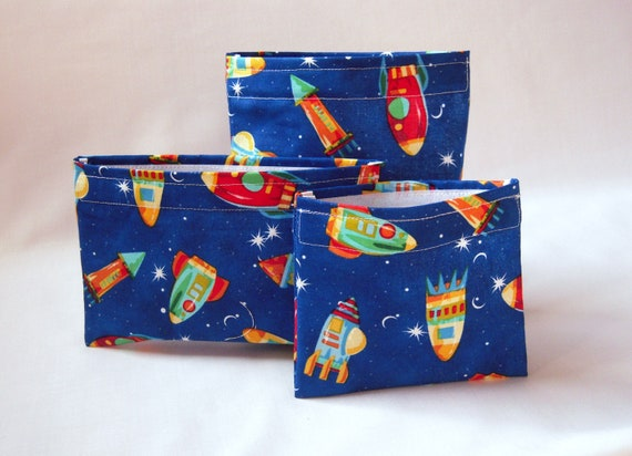 Reusable Snack Bags and Reusable Sandwich Bag - Set of 3 Reusable Lunch Bags -Rocket Me To The Moon - Eco Freindly Bag Set