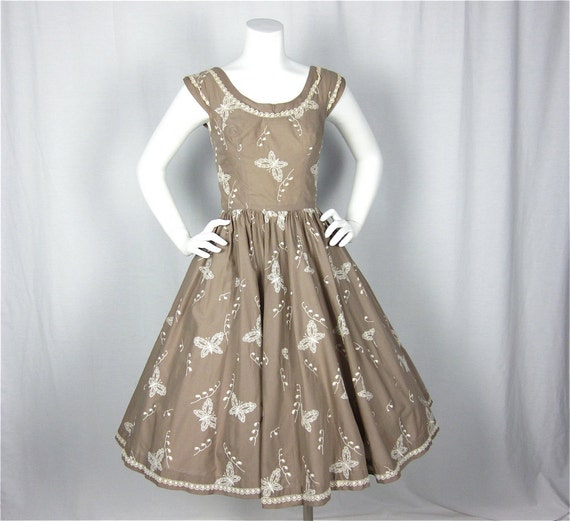 Layaway for Leigh// Vintage 1950s or 60s Cocoa Cotton Embroidered Summer Dress, Sz S