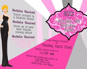 Fashion Show/Model Party Invitation - 5x7 DIGITAL FILE