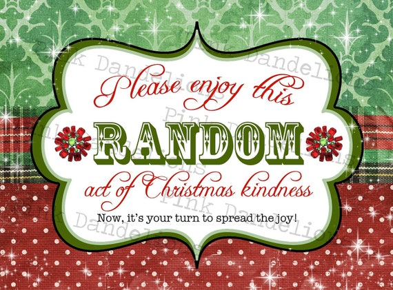 Items similar to Random Act of Christmas Kindness Cards/Tags ...