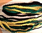Yellow Black and Green Crochet Dangles