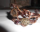 Wire Wrapped Bracelet Copper Cuff  Steampunk