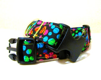 SALE - Bright and Whimsical Spotty Dog Collar - Size M