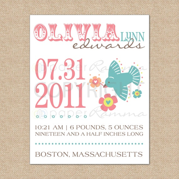 Personalized Birth Announcement Art Print // Style: Birdie and Blooms // N-B04-1PS AA6