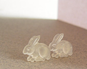 Frosted Rabbit Stud Earrings Matte Resin Bunny Hypoallergenic Plastic Ear Posts