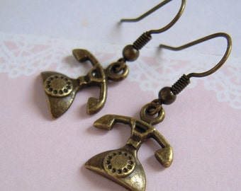 Telephone Earrings, Antiqued Miniature Telephone Charm Earrings