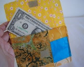 Handmade Fabric Wallet Yellows and Blues
