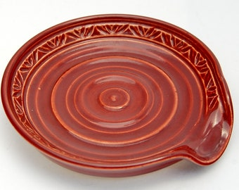 Spoon Rest in Firebrick Red - Ceramic Stoneware Pottery