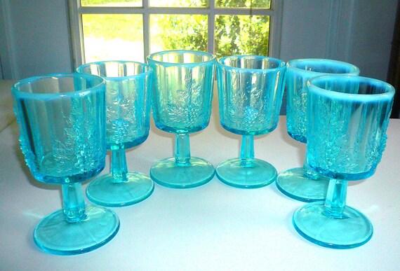 Aqua Blue Glass Goblets Westmoreland Glass Paneled Grape Glasses Opalescent Set of Six Drinking Glasses Table Setting Vintage